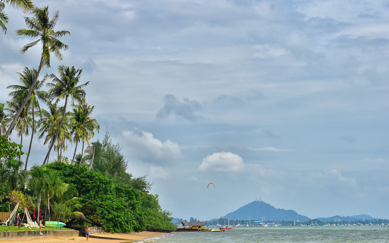 exotic kitesurfing spot in thailand on phuket island with palm trees on the beach and hills in the background